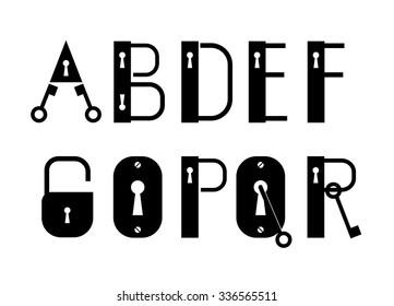 ABC Key, Keyhole, and Lock padlock logotypes or decorative font , type