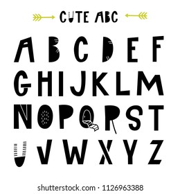 ABC - Latin alphabet. Unique nursery poster with letters in scandinavian style. Vector illustration.