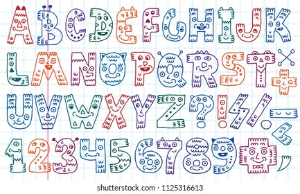 ABC Letters And Numbers Doodle Characters.  Colored Lines School Notebook In A Cage.