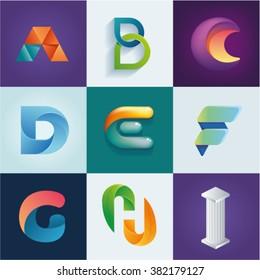 ABC of logo idea set of letters A B C D E F G H I