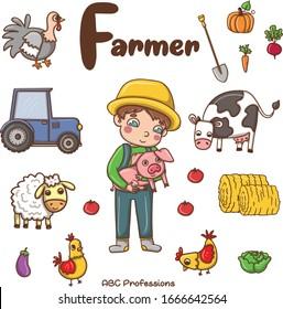 ABC professions alphabet, Letter F - Farmer