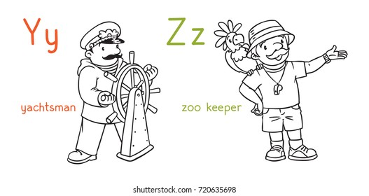 ABC professions coloring book set.