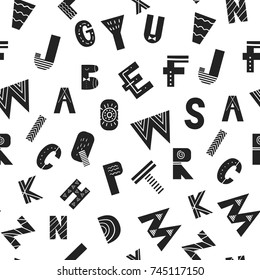 ABC seamless pattern with latin alphabet letters in monochrome scandinavian style. Vector illustration.