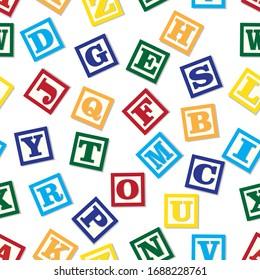 Abc toy blocks seamless pattern