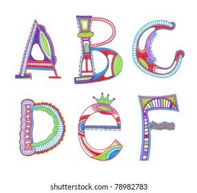ABC. vector  font. Sketchy alphabet design