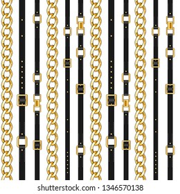 Abctract seamless pattern with belts and chain isolated for fabric. Trendy repeating print.