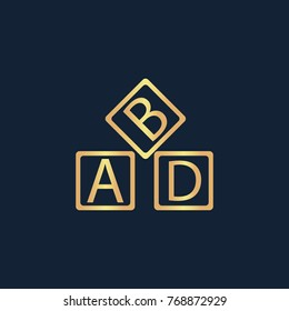 ABD cubes blocks child education icon flat. Simple gold pictogram on dark background. Vector illustration symbol