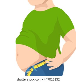 Abdomen fat, overweight man with a big belly and measure tape around waist against. Vector illustration