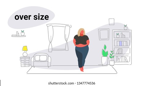 abdomen fat overweight woman blonde fatty girl obesity over size concept unhealthy lifestyle modern living room interior full length sketch doodle horizontal
