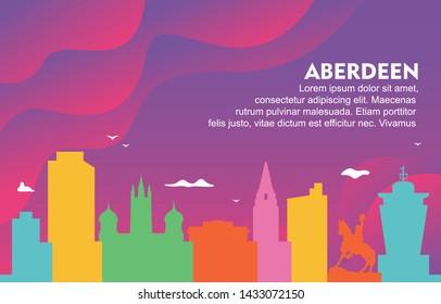 Aberdeen City Building Cityscape Skyline Dynamic Background Illustration