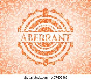 Aberrant abstract orange mosaic emblem with background