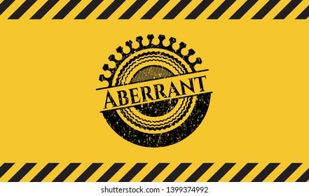 Aberrant black grunge emblem, yellow warning sign. Vector Illustration. Detailed.
