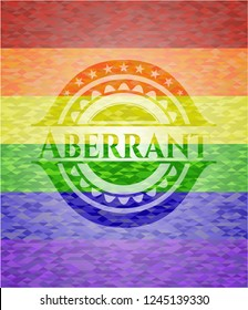 Aberrant emblem on mosaic background with the colors of the LGBT flag