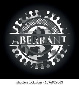 Aberrant grey camo emblem. Vector Illustration.
