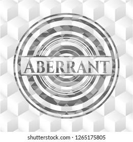 Aberrant grey emblem with geometric cube white background