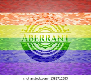 Aberrant on mosaic background with the colors of the LGBT flag