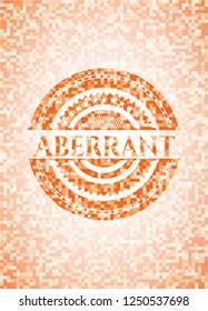Aberrant orange tile background illustration. Square geometric mosaic seamless pattern with emblem inside.