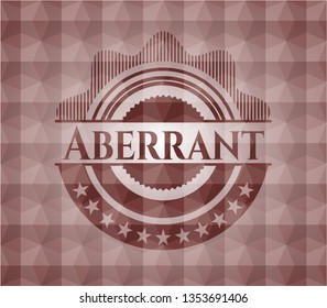 Aberrant red seamless emblem or badge with abstract geometric polygonal pattern background.