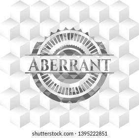 Aberrant retro style grey emblem with geometric cube white background