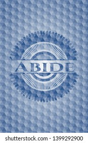 Abide blue emblem with geometric background. Vector Illustration. Detailed.