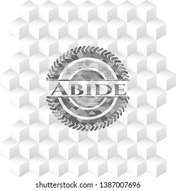 Abide grey emblem. Vintage with geometric cube white background