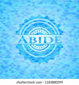 Abide light blue emblem. Mosaic background