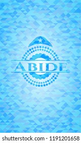 Abide realistic sky blue mosaic emblem
