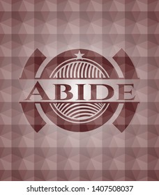 Abide red seamless emblem or badge with abstract geometric polygonal pattern background.