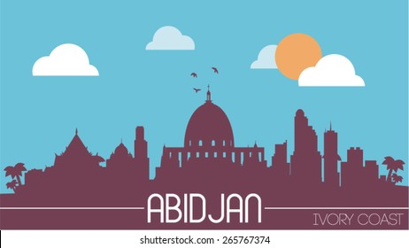 Abidjan city Ivory Coast skyline silhouette flat design vector illustration