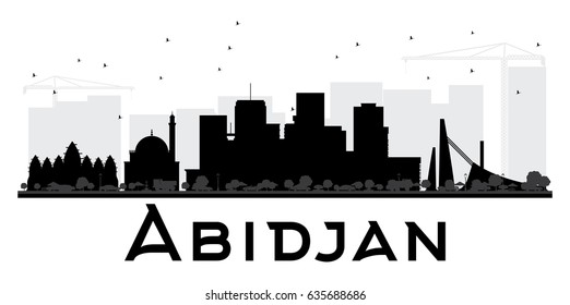 Abidjan City skyline black and white silhouette. Vector illustration. Simple flat concept for tourism presentation, banner, placard or web site. Cityscape with landmarks.