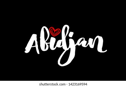 Abidjan city text with red love heart design on black background for typographic logo icon design