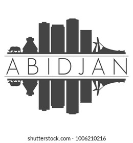 Abidjan Ivory Coast Africa Skyline Vector Art Mirror Silhouette Emblematic Buildings