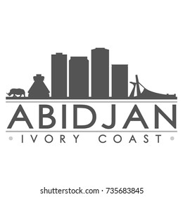 Abidjan Ivory Coast Africa Skyline Silhouette Design City Vector Art Famous Buildings