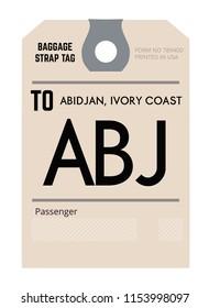 abidjan ivory coast airport luggage tag