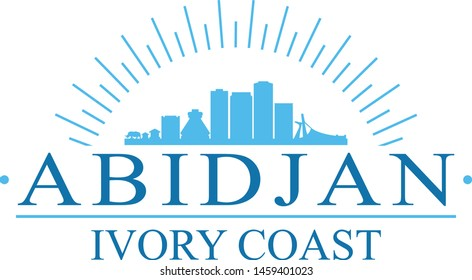Abidjan Ivory Coast City. Banner Design. City Skyline. Silhouette Vector. Famous Monuments.