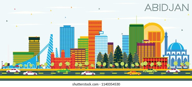 Abidjan Ivory Coast City Skyline with Color Buildings and Blue Sky. Vector Illustration. Business Travel and Tourism Concept with Modern Architecture. Abidjan Cityscape with Landmarks.
