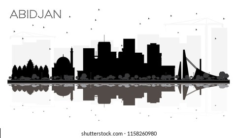 Abidjan Ivory Coast City Skyline Silhouette with Black Buildings Isolated on White. Vector Illustration. Business Travel and Tourism Concept with Modern Architecture. Abidjan Cityscape with Landmarks.