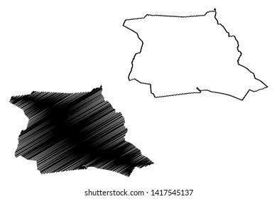 Abidjan (Ivory Coast, Republic of Cote dIvoire) map vector illustration, scribble sketch Autonomous District of Abidjan map