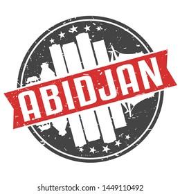 Abidjan Ivory Coast Round Travel Stamp. Icon Skyline City Design. Seal Tourism Ribbon.