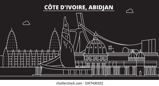 Abidjan skyline. Cote dIvoire - Abidjan vector city, ivorian linear architecture, buildings. Abidjan line travel illustration, landmarks. Cote dIvoire flat icon, ivorian outline design banner