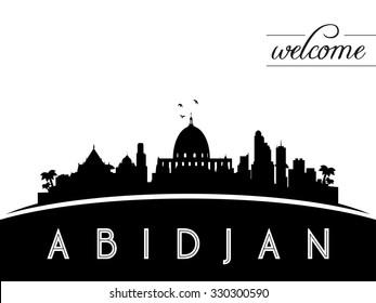 Abidjan skyline silhouette, black and white design, vector illustration