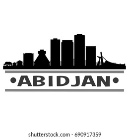 Abidjan Skyline Silhouette City Vector Design Art