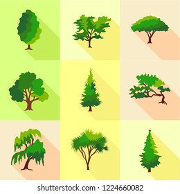 Abies icons set. Flat set of 9 abies vector icons for web isolated on white background