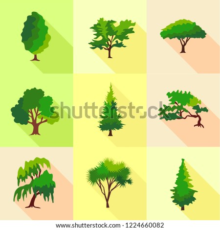 Abies Icons Set Flat Set 9 Stock Vector Royalty Free 1224660082