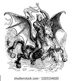 Abigor was a demon of higher order in the infernal monarchy, a handsome rider carrying the spear, vintage engraved line art illustration. Infernal Dictionary 1863.