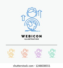 abilities, development, Female, global, online 5 Color Line Web Icon Template isolated on white. Vector illustration