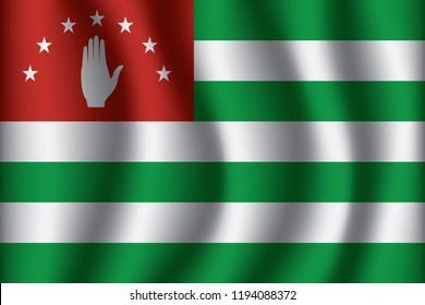 Abkhazia flag background with cloth texture. Abkhazia Flag vector illustration eps10.