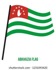 Abkhazia Flag Waving Vector Illustration on White Background. Abkhazia National Flag.