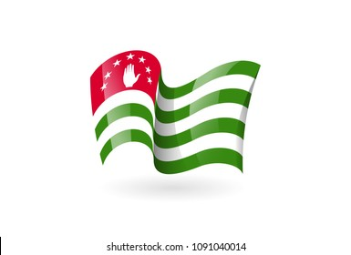 Abkhazia waving flag vector icon, national symbol. Flag of Abkhazia, fluttered in the wind - vector illustration isolated on white background.