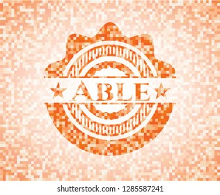 Able abstract orange mosaic emblem with background